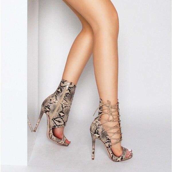 Imprimer Talons 11 Mince Dames Serpent Lacets Cm Beige Bottes Spartiates Hauts Chaussures À Sandales 2018 5 Pour Bottines noir Découpes Sexy Femmes Femelle Wt0nqOxfX