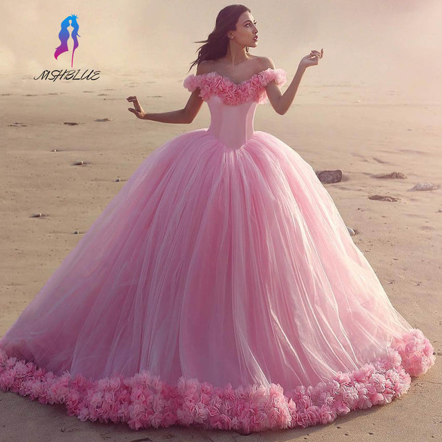 5a7eb5b474 Luxury Pink Ball Gown Quinceanera Gowns Dresses Tulle Off the Shoulder  Lace-up Back Sweet
