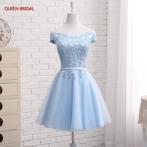 Image 2 - Hot Sale Many Colors A line Cap Sleeve Tulle Lace Short Evening Dresses 2020 New Elegant Party Dress Prom Gown EN04K