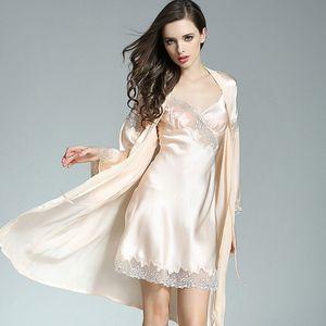 Image 4 - 2019 Yaz 100% Gerçek Ipek Bayan Bornoz Elbisesi Setleri Seksi Iki Parçalı Gecelik Kimono Elbiseler Dut Ipek Pijama kadınlar için