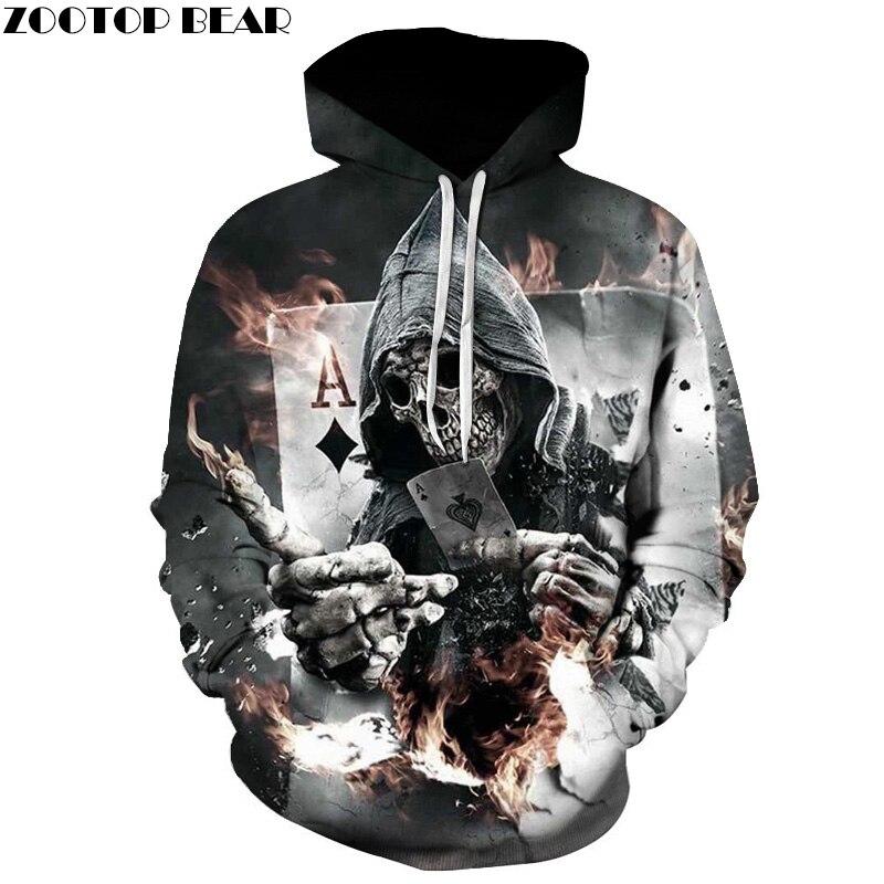 Schädel Poker Hoodies Sweatshirts Männer Frauen 3D Pullover Lustige Rock Trainingsanzüge Mit Kapuze Mann Jacken Mode Lässig Outwear Winter