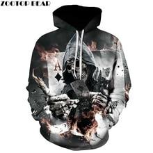 Skull Poker font b Hoodies b font Sweatshirts Men font b Women b font 3D Pullover