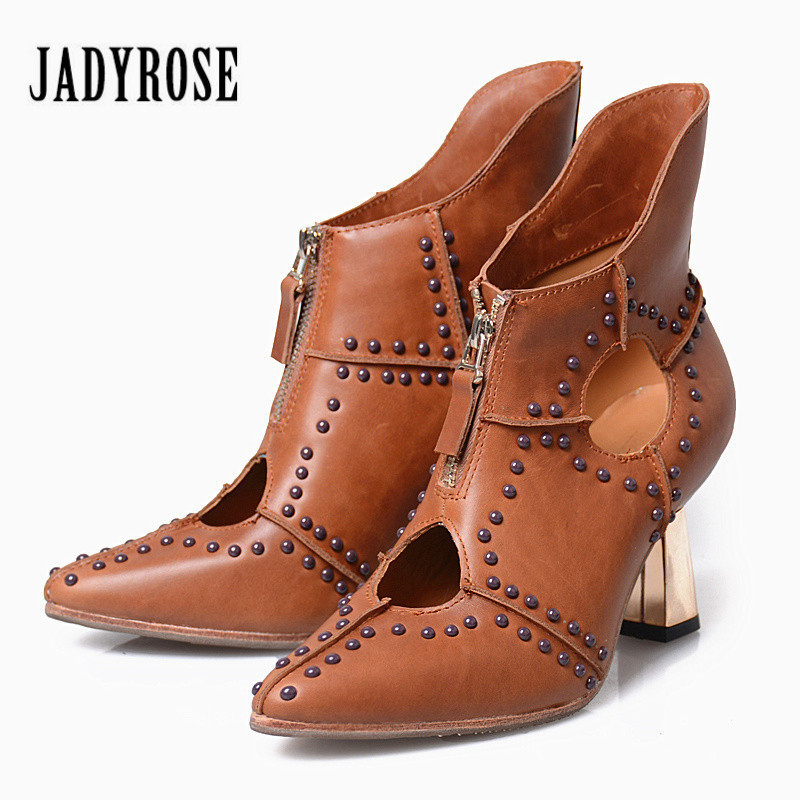 Jady Rose Rivets Studded Genuine Leather Women Ankle Boots Chunky High Heels Hollow Out Summer Boot Women Pumps Valentine Shoes jady rose suede women ankle boots fringed lace up high heel shoes woman rivets studded platform pumps valentine shoes