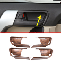 4pcs Pine Wood Grain For Toyota Land Cruiser Prado FJ150 150 2014-2018 ABS Car Interior Door Bowl Cover Trim Auto Accessories