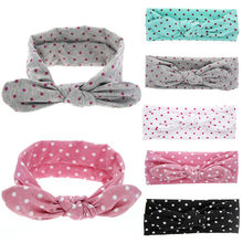Hair Headband Baby Rabbit Ears Elastic Wave Point Bowknot Headband Hairdressing Hair Accessories For Women(China)