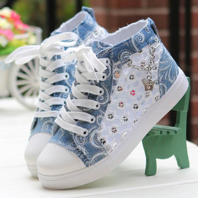 c6097a1300f4 Online Shop Girls  Spring Autumn Air Mesh Fashion Round Toe Lace-up Casual  Shoe Denim Canvas High Cut Jean Shoe Trifle Heel Breathable Shoe