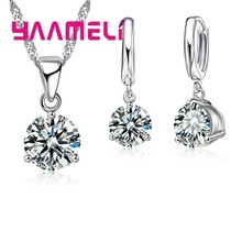 Woman Fashion High Discount Necklace and Earrings 925 Serling Silver Cubic Zirconia Wedding Jewelry Sets(China)