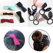 Allergy Free Bowknot Gifts 2018 New Arrival Elasticity 1PC Beautiful Party Strip Graceful Bunny Ears Hair Clip Hair Rope Korean(China)