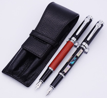 Jinhao 8802 Sea Shell & Redwood Fountain Pen with Real Leather Pencil Case Bag Washed Cowhide Holder Writing Gift Set