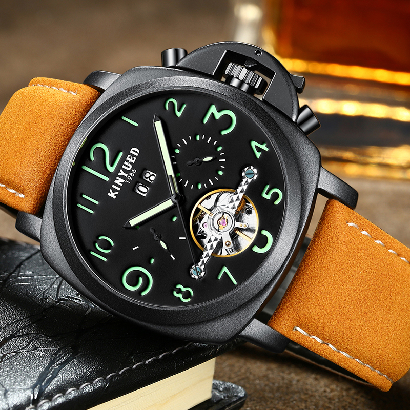 где купить KINYUED Mens Top Brand Mechanical Watches Luxury Perpetual Tourbillon Automatic Watch Men Skeleton Calendar Relogio Masculino по лучшей цене
