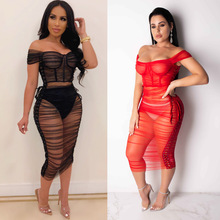Sexy Off-the-shoulder Bandage Cloth Perspective Mesh Dress Nightclub Dress