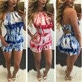 2016 nova moda de verão sexy clube ocasional de impressão halter backless macacões playsuits macacão combinaison femme