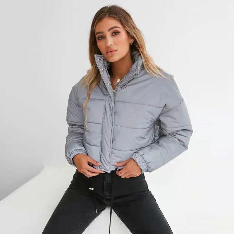 Dulzura flash reflective women padded jacket short tops warm 18 autumn winter solid zipper oversize loose outwear coats casual 17