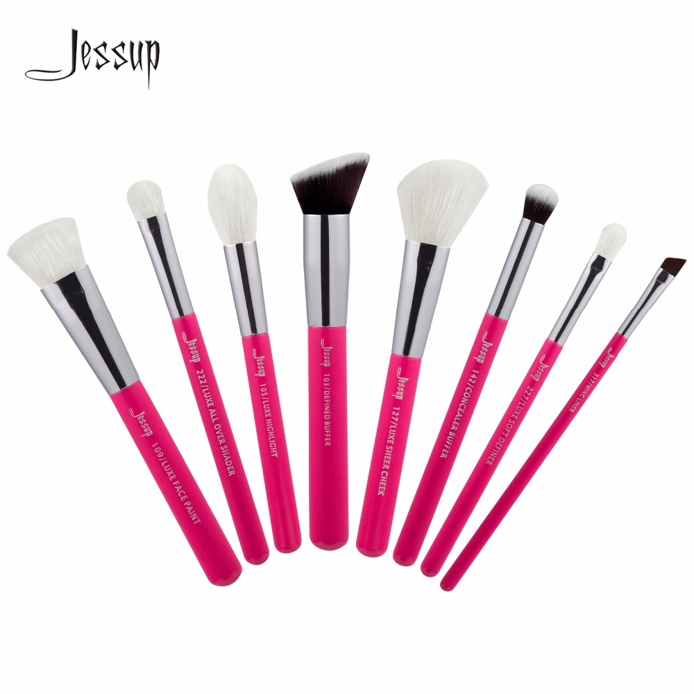Jessup Brushes 8pcs Professional Makeup Brushes Set Makeup Brush Tools Kit Buffer Paint Cheek Highlight Shader line T199 abs car grille covers trim for ford focus c max fiesta galaxy mondeo s max 2015 2016 car styling stickers accessories