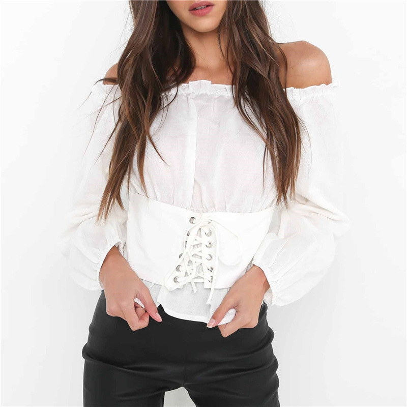 7b8d197e7a9eb1 Sexy Slash neck Blouses Women Elegant casual chic off shoulder top bandage  shirts Long Sleeve tunic white blouse ladies tops