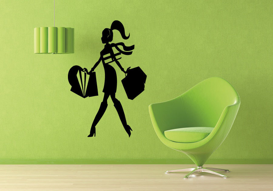 Sexy girl vinyl wall decal shopping mall fashion style trends fancy dress clothing shop decor window glass wall sticker in wall stickers from home garden