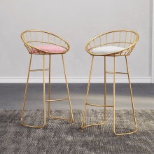 Барный стул скандинавский минималистичный барный стул 75 см/70 см/65 см железный стул, золотой стул, современный обеденный стул, стальной стул