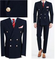 2018 latest coat pant design men suits wedding suits Navy Blue Peaked Lapel Double Breasted 2 Piece Terno Slim Costume Homme