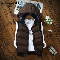 WHOHOLL 2017 New Stylish Autumn Winter Vest Men High Quality Hood Warm Sleeveless Jacket Waistcoat Men