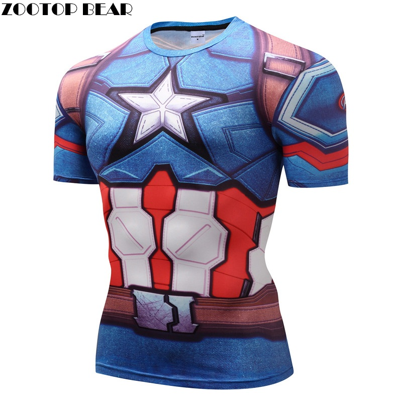 Capatain American/Iron Man/Winter Soilder T shirts Compression Fitness T-shirts Short Sleeve Bodybuilding Top Tee Crossfit Brand