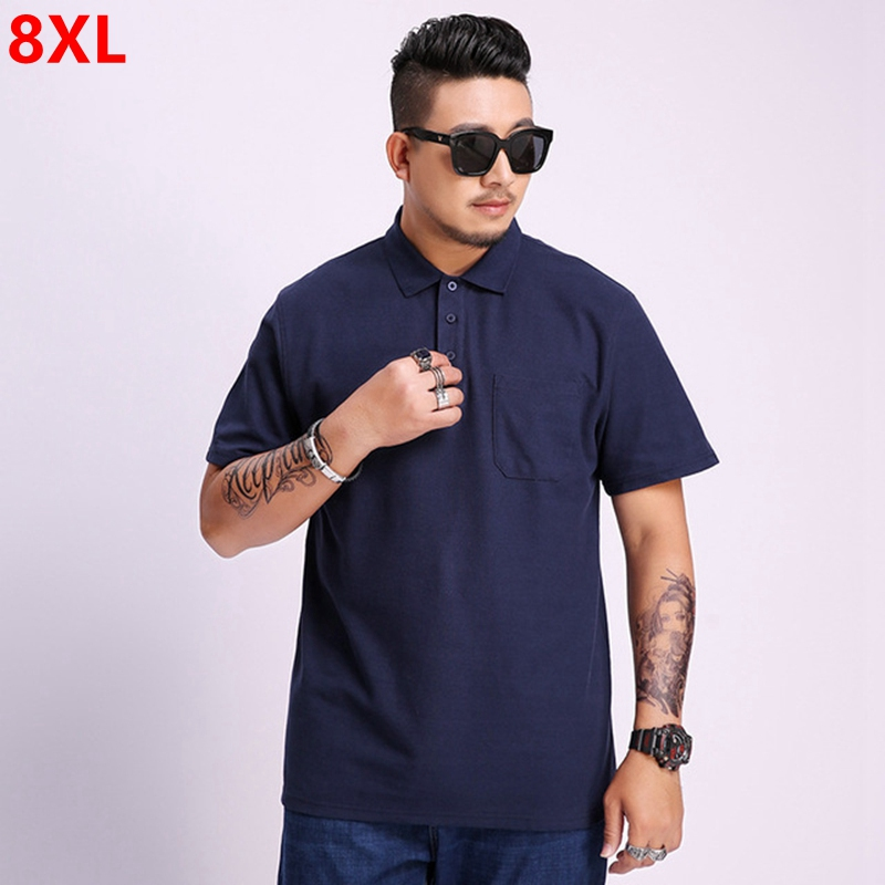 Summer short-sleeved men's tide brand large size loose tide 8XL 7XL plus size men's lapel casual   polo   shirt