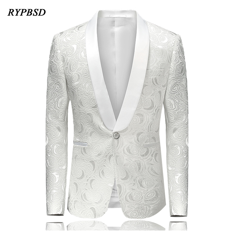 Mens Luxurious White Jacquard Shawl Collar Fashion Suit Blazer Wedding Party Slim Fit Blazer Stage Costumes For Singers