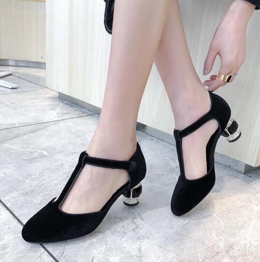 Prova Perfetto T buckle strap strange style heel women pumps round toe crystal jewel high heels ladies dress party wedding shoes - 5
