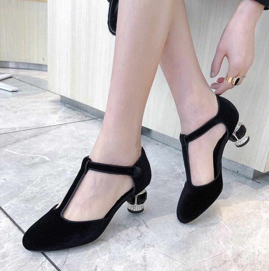 Prova Perfetto T schnalle seltsame stil ferse frauen pumpt runde kappe kristall jewel high heels damen kleid party hochzeit schuhe - 5