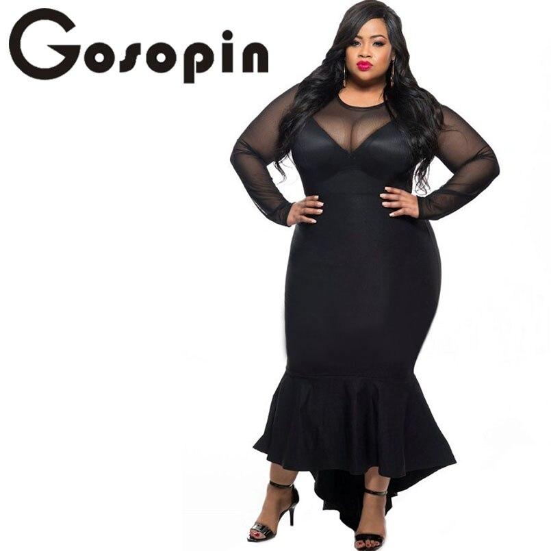 Gosopin Plus Size Women Sexy Clubwear Dress Black Mermaid