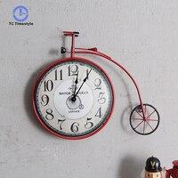 Bicicleta relógio de parede retro país da américa sala estar quarto personalizado decoração relógios de parede nova chegada pendurado relógio