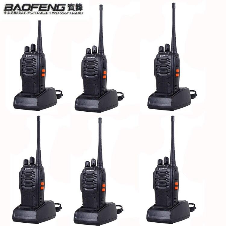 6PCS Two Way Radio Walkie Talkie Handy Pofung Bf 888s Baofeng 888s With 5w CB Radio