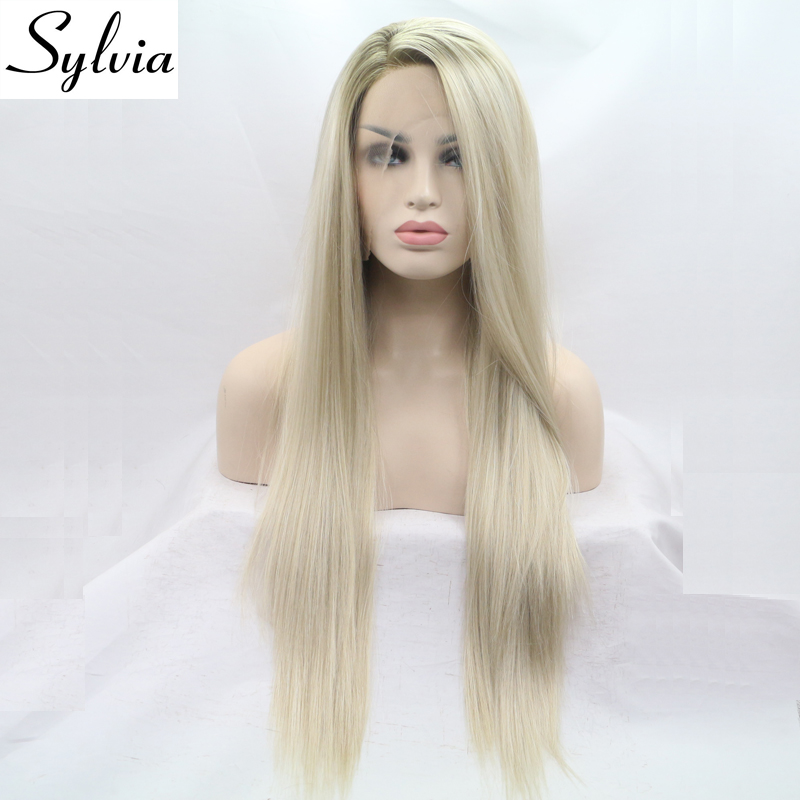 ФОТО sylvia brown/blonde ombre synthetic lace front wig blonde silky straight wigs with brown roots side parting heat resistant fiber