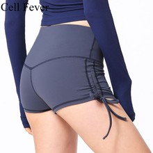 Yoga Shorts Women High Waist Solid Breathable Sports Running Fitness 2019 New Drawstring Workout Gym Athletic
