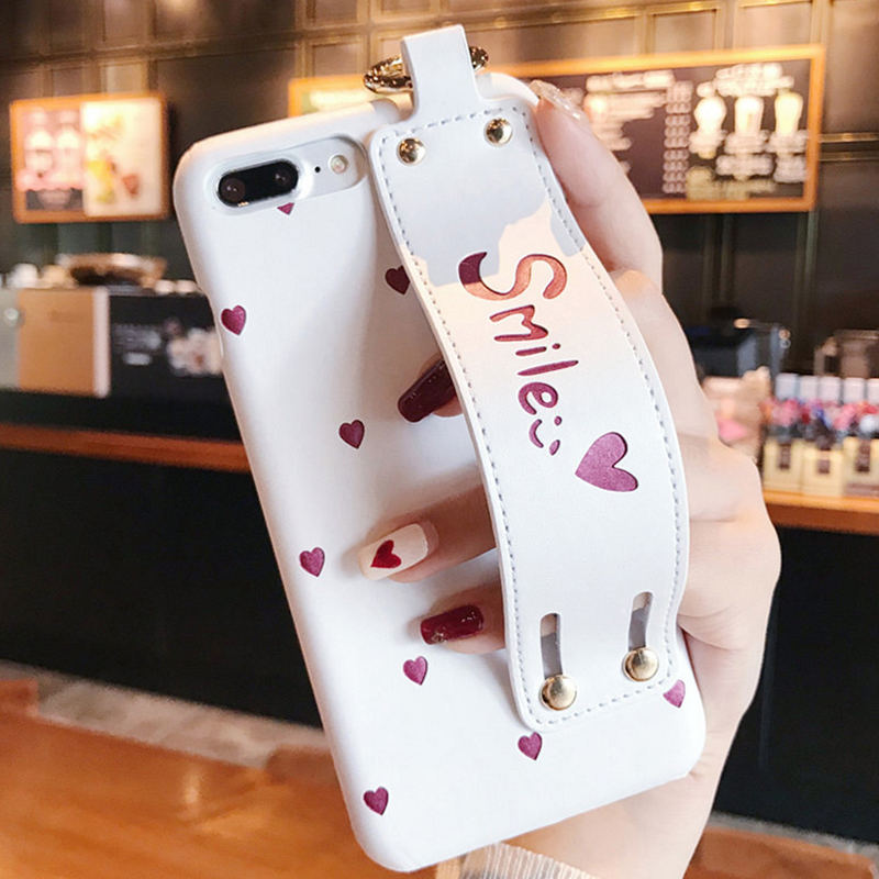 GIMO Love Heart Smile GRIP Strap Phone Case for iPhone 6 6s 6plus 7/7plus Sweet Stander Hard PU Back Cover for iPhone 8 8plus X