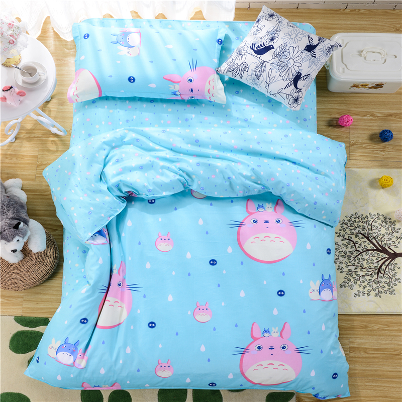 Hundred cotton,t hree-piece suit (a quilt cover,a sheet, a pillowcases)Suitable for 1.5 meters bed cartoon cat pink blue backgr