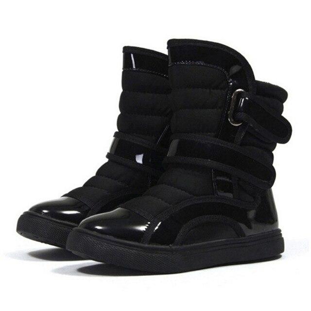 Дети Снегоступы 2016 Мальчиков Теплые Зимние Сапоги Anti-slip Лоскутное Середины икры Сапоги для Мальчиков Обувь Для Лыж мужской Детская Обувь Обувь