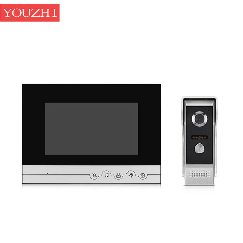 7 inch video Intercom color TFT LCD Wired Video DoorPhone audio Intercom with 700TVL CMOS outdoor Camera Door bell YOUZHI 7 inch video doorbell tft lcd hd screen wired video doorphone for villa one monitor with one metal outdoor unit rfid card panel