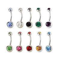 MISANANRYN Brand AAA Zircon Jeweled Style Belly Button Ring Body Piercing Jewelry Navel Piercing 316L Stainless steel Belly Ring(China)