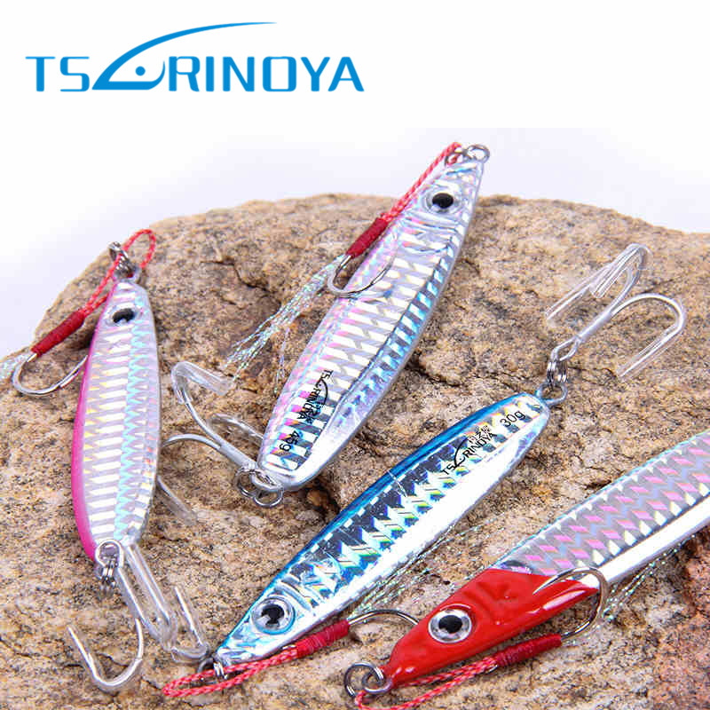 Tsurinoya 6cm/20g 7cm/30g Lead Metal Jigging Spoon With Sharp Hook Sea Fishing Jig Lure Isca Artificial Bait Leurre Peche Pesca 30pcs set fishing lure kit hard spoon metal frog minnow jig head fishing artificial baits tackle accessories