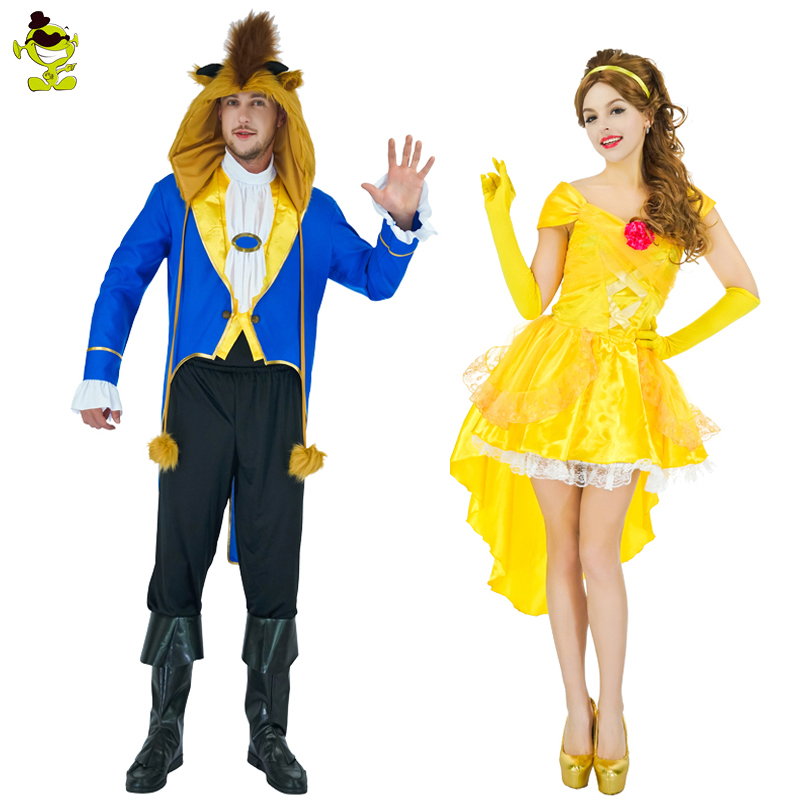 Adult Men Wild Beast Costume&Wome's Sassy Belle Dresses Masquerade Christmas Parties Dress Up Hot Movie Lover Clothing