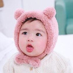 Милые детские шапки с медвежьими ушками для детей от 6 до 36 месяцев, Bebe, осенне-зимняя теплая шапка, шапки, флисовые наушники-ушанки для мальч...