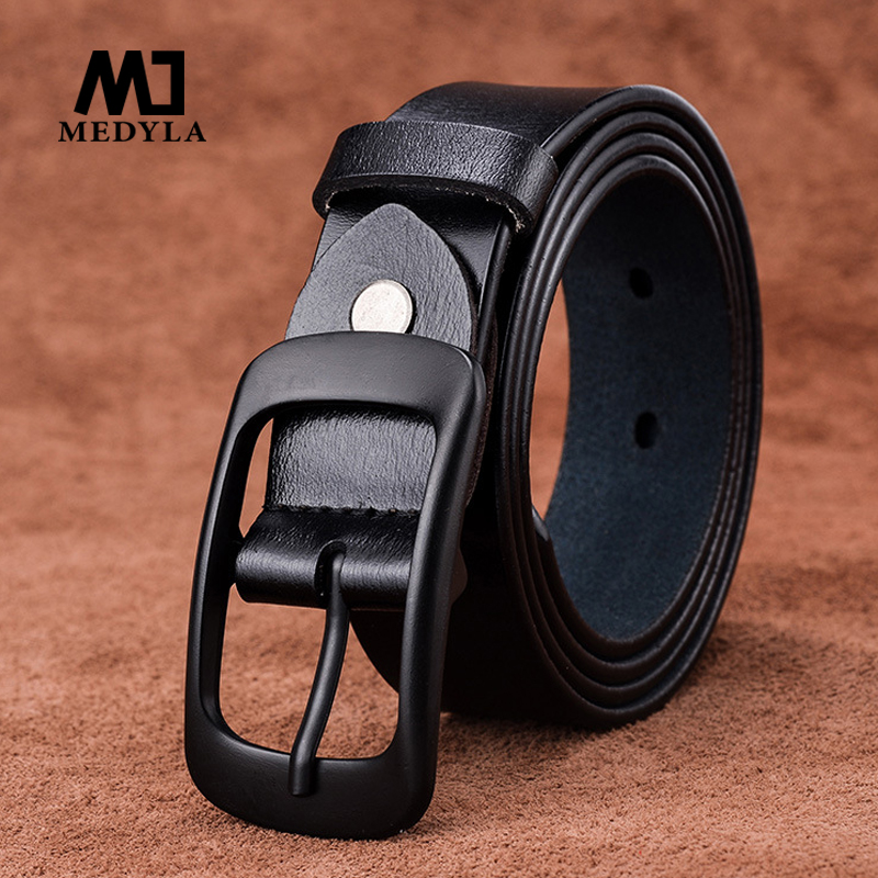 Medyla Women Belts Cow Genuine Leather Good Quality Black Alloy Pin Buckle Fashion Style Design Cinto Feminino Original Brand