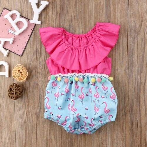 29ab2e01f35f Newest Pink Flamingo Romper Cute Kids Baby Girl Ruffles Tassel Romper  Sleeveless Jumpsuit Cotton Newborn Summer Outfits Clothes