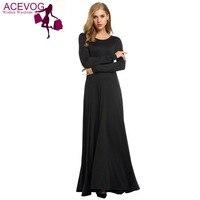 ACEVOG Full-Longitud Vestido Plisado Sólido de Manga Larga de Las Mujeres Oscilación Del Partido de Tarde Maxi Largo [Con Cintura Pluz Tamaño