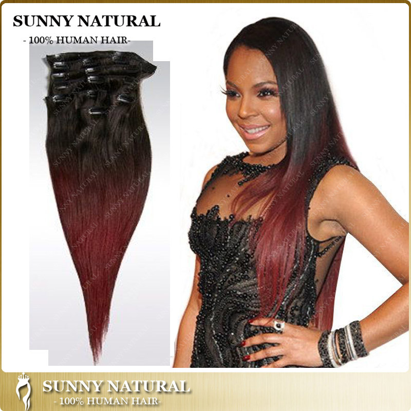 1b99j African American Clip In Human Hair Extensions Brazilian