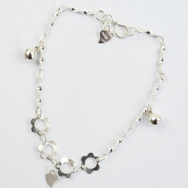990 Sterling Silver Thin Chain Love Charm Bracelet Bangle