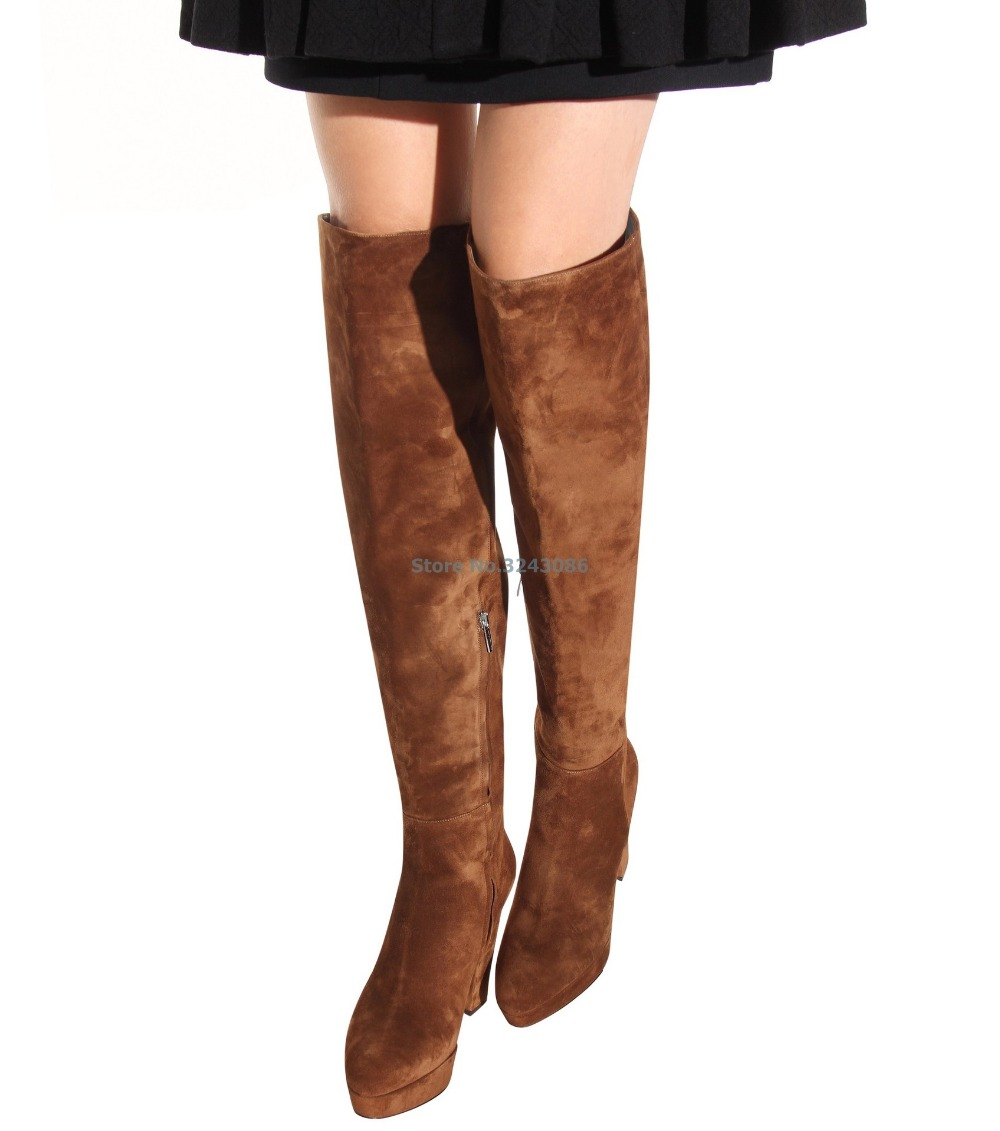 Black Brown Platform Chunky High Heel Boots Suede Round Toe Over The Knee Boots Fashion Spring Autumn Women Shoes nikove 2018 women boots western style high heel over the knee boots round toe spring and autumn fashion ladies boots size 34 39