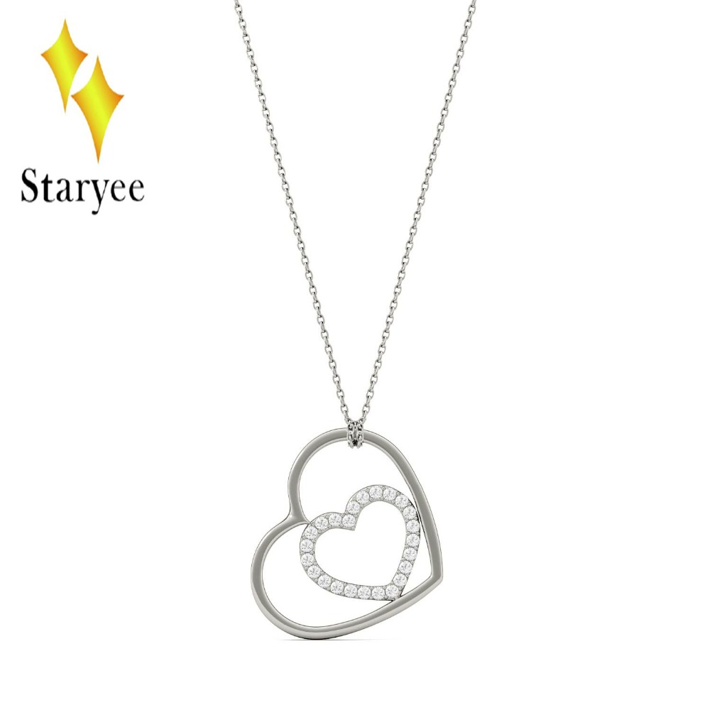 18K 750 White Gold Pendant GH Color Round Lab Grown Moissanite Double Heart Necklace Diamond Pendant Necklace for Women Jewelry 18k 750 white gold moissanite pendant round cut lab grown moissanite diamond chain pendant necklace for women in fine jewelry