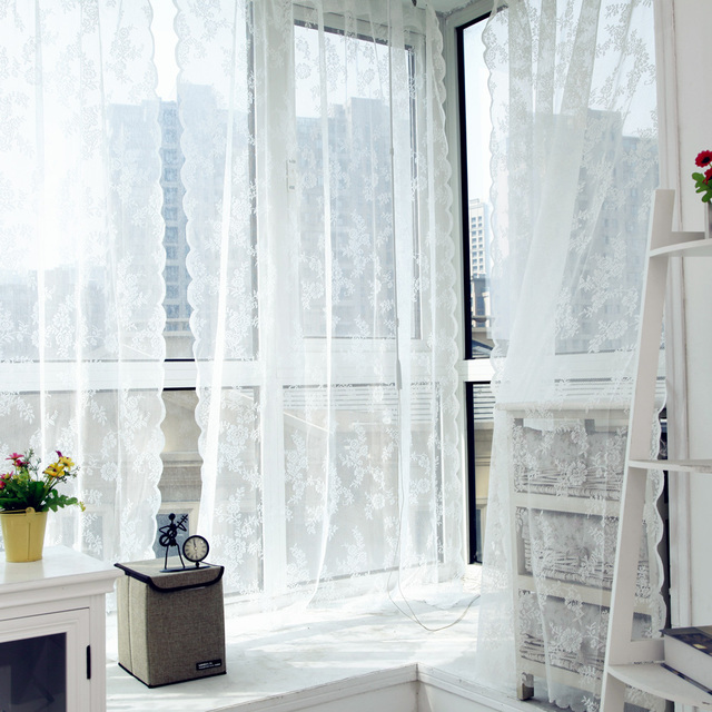 Voile Tulle Curtains Lace Curtains Insect Bed Canopy Netting Drape Panel  Leaf Door Window Sheer Curtain