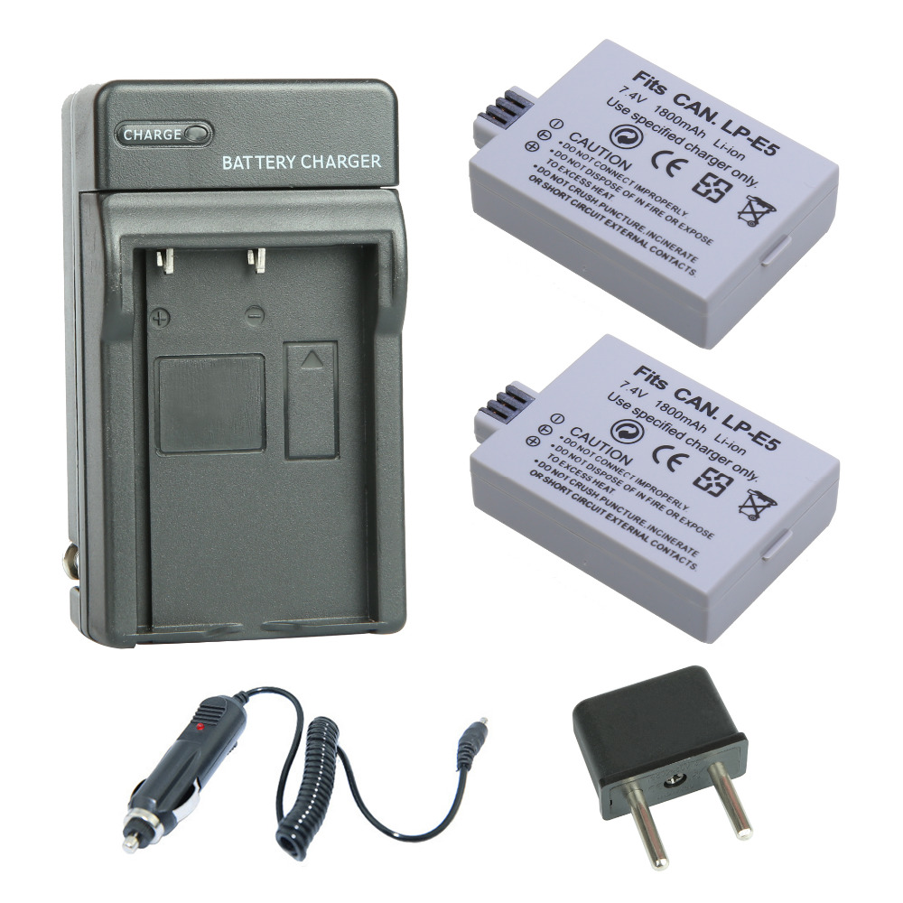 Quality For Canon Eos 450d 500d 1000d Camera Battery Lp-e5 Charger Superior In